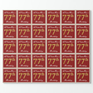 Elegant, Red, Faux Gold 77th Birthday; Custom Name Wrapping Paper
