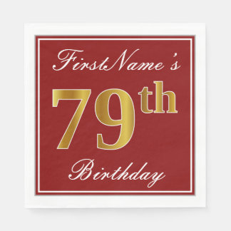 Elegant Red, Faux Gold 79th Birthday + Custom Name Paper Napkin