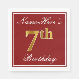 Elegant Red, Faux Gold 7th Birthday + Custom Name Disposable Napkin