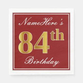 Elegant Red, Faux Gold 84th Birthday + Custom Name Paper Napkin