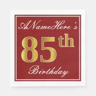 Elegant Red, Faux Gold 85th Birthday + Custom Name Disposable Napkins