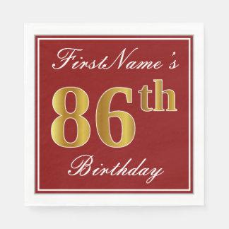 Elegant Red, Faux Gold 86th Birthday + Custom Name Paper Napkins