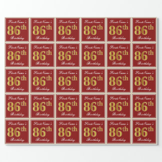 Elegant, Red, Faux Gold 86th Birthday; Custom Name Wrapping Paper