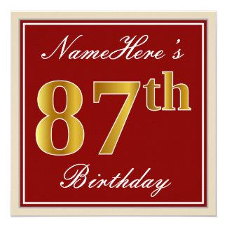 Elegant, Red, Faux Gold 87th Birthday; Custom Name Card