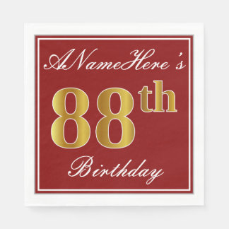 Elegant Red, Faux Gold 88th Birthday + Custom Name Paper Napkins