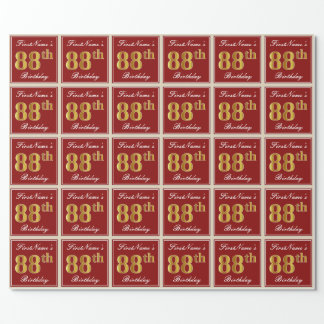 Elegant, Red, Faux Gold 88th Birthday; Custom Name Wrapping Paper
