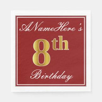 Elegant Red, Faux Gold 8th Birthday + Custom Name Disposable Napkin
