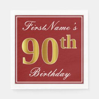 Elegant Red, Faux Gold 90th Birthday + Custom Name Paper Napkins