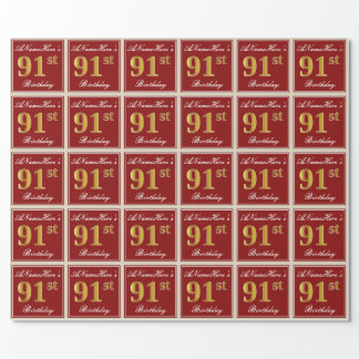 Elegant, Red, Faux Gold 91st Birthday; Custom Name Wrapping Paper