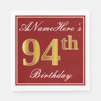 Elegant Red, Faux Gold 94th Birthday + Custom Name Disposable Napkins