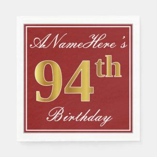 Elegant Red, Faux Gold 94th Birthday + Custom Name Paper Napkin
