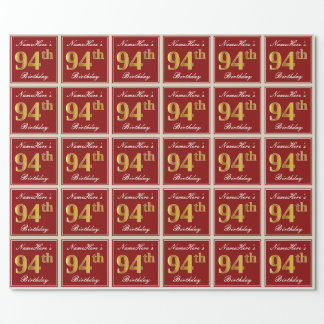 Elegant, Red, Faux Gold 94th Birthday; Custom Name Wrapping Paper