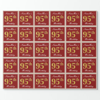 Elegant, Red, Faux Gold 95th Birthday; Custom Name Wrapping Paper