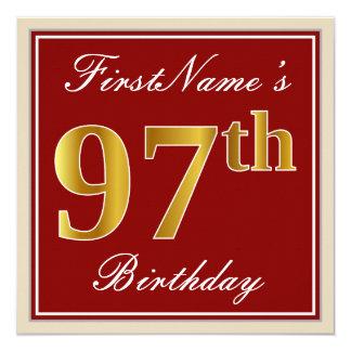 Elegant, Red, Faux Gold 97th Birthday; Custom Name Card