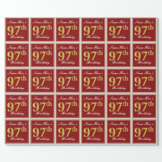 Elegant, Red, Faux Gold 97th Birthday; Custom Name Wrapping Paper