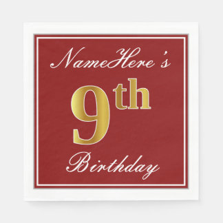 Elegant Red, Faux Gold 9th Birthday + Custom Name Disposable Napkins