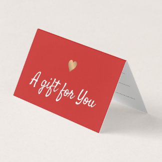 Elegant Red Faux Gold Heart Gift Certificate