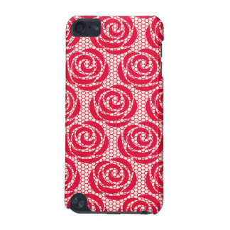 Elegant Red Floral Lace Pattern iPod Touch (5th Generation) Covers