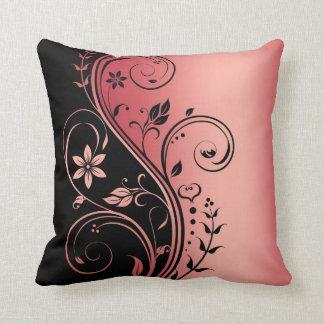 Elegant Red Floral Scroll Black Pillow