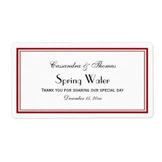 Elegant Red Framed H Water Bottle Label Shipping Label