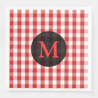 Elegant Red Gingham Pattern Personalized Monogram Paper Napkin