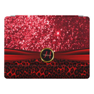 Elegant Red Glitter and Leopard Skin iPad Pro Cover