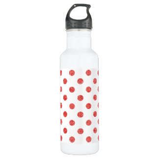 Elegant Red Glitter Polka Dots Pattern 710 Ml Water Bottle