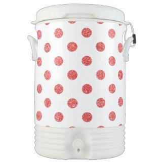 Elegant Red Glitter Polka Dots Pattern Drinks Cooler