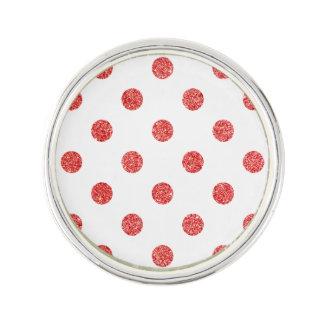 Elegant Red Glitter Polka Dots Pattern Lapel Pin