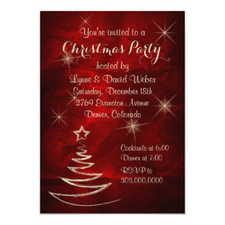 Elegant Red Gold Christmas Party Card