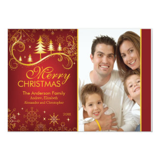 Elegant Red Gold Christmas Tree Holiday Photo Card