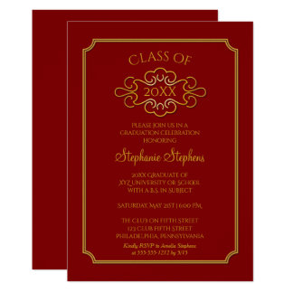 Elegant Red | Gold College Graduation Party Card