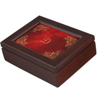 Elegant Red Gold Corner Frame Monogram Keepsake Box