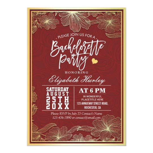 Elegant Red & Gold Floral Frame Bachelorette Party Card