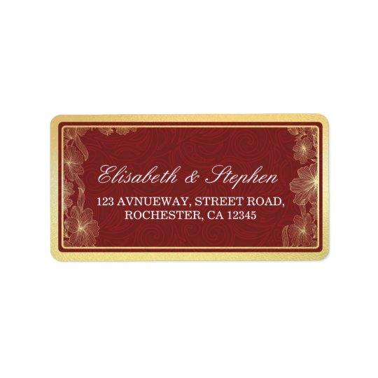 Elegant Red & Gold Floral Frame Wedding Address