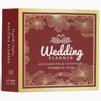 Elegant Red & Gold Floral Frame Wedding Planner Binder