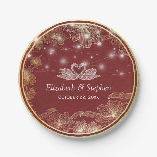 Elegant Red & Gold Floral Frame Wedding Shower Paper Plate