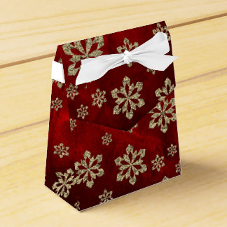Elegant Red Gold Snowflake Personalized Favor Box