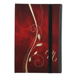 Elegant Red Gold Swirl Leaf Monogram iPad Mini 4 Case