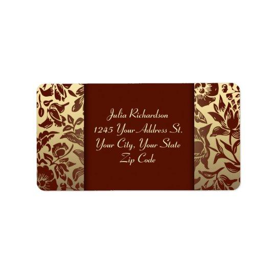 elegant red golden wedding address labels