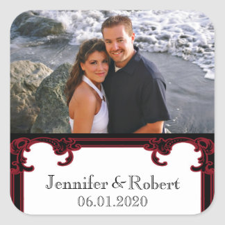 Elegant Red Gothic Frame Wedding Square Sticker