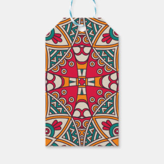 Elegant Red green Boho chic floral pattern Gift Tags