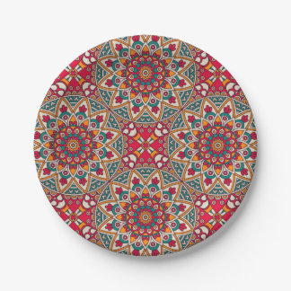 Elegant Red green Boho chic floral pattern Paper Plate