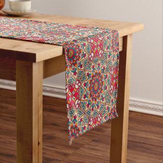 Elegant Red green Boho chic floral pattern Short Table Runner