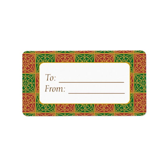 Elegant Red Green Fleur de Lis Gift Tag Labels