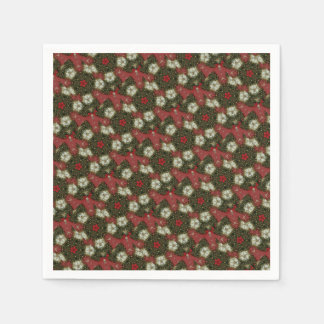Elegant Red Green White Kaleidoscope Pattern Stars Disposable Napkin