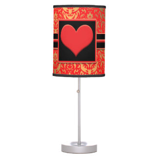 Elegant Red Heart Romantic Valentine Red Damask Table Lamp