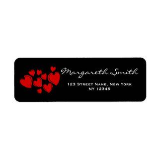Elegant Red Hearts Address Label