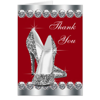 Elegant Red High Heel Shoe Thank You Cards