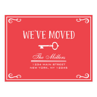 Elegant Red Key Moving Announcement Postcard